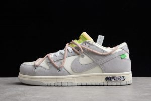"""Latest Off-White x Nike Dunk Low """"THE 50"""" NO.12 Grey/White-Pink DM1602-113"""